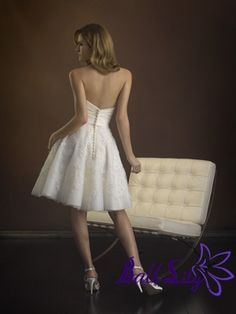 www.balllily.com $169 Gorgeous Strapless Short Mini Wedding Dress WDSM005