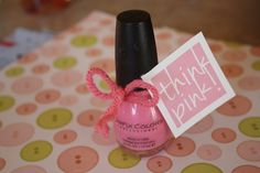 Think Pink! Baby Shower Favor Tags - Free printables! add to pink polish for a simple baby shower favor idea! #babyshower