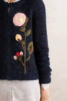 Anthropologie's October Arrivals: Jackets & Tops Vertical Garden Cardigan by. - embroidery on knitwear. Embroidery On Clothes, Wool Embroidery, Embroidery Stitches, Embroidery Patterns, Cardigans For Women, Sewing Crafts, Free Pattern, Knitwear, Knit Crochet