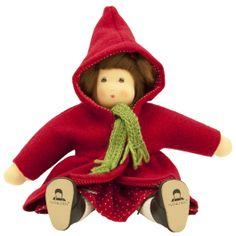 Little Red Riding Hood Waldorf Doll. Made in Germany with boiled wool coat and real leather shoes! Photo by Bella Luna Toys.