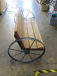 Metal wagon wheel bench