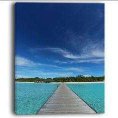 "DesignArt 'Infinite Sea Pier' Photographic Print on Wrapped Canvas Size: 60"" H x 28"" W x 1.5"" D"