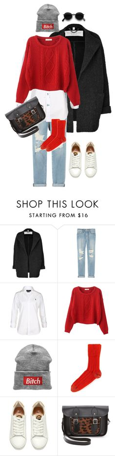 """""""Casual red"""" by tayamiro ❤ liked on Polyvore featuring Burberry, Frame, Polo Ralph Lauren, Chicnova Fashion, Sofie D'hoore, H&M, The Cambridge Satchel Company and Acne Studios"""
