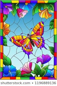 Illustration in stained glass style with a bright butterfly on a background of f. - Illustration in stained glass style with a bright butterfly on a background of flowers and sky in a - Stained Glass Paint, Stained Glass Crafts, Stained Glass Designs, Stained Glass Patterns, Stained Glass Windows, Glass Painting Patterns, Glass Painting Designs, Paint Designs, Mosaic Glass