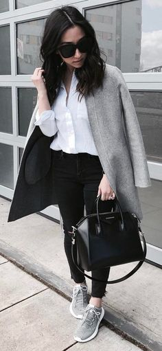 fall casual outfit idea grey coat + white shirt + bag + skinnies + sneakers