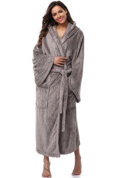 Winter Thick Warm Women Robes Bohemian Coral Fleece Sleepwear Long Robe  Woman Hotel Spa Plush Long Hooded Bathrobe Nightgown Kimono bfdc2f60c