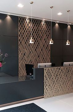 Laser cut screens and Laser cut panels - Miles and Lincoln Hotel Lobby Design, Laser Cut Screens, Laser Cut Panels, Laser Cut Metal, Reception Desk Design, Hotel Reception, Shop Interiors, Office Interiors, Wall Design