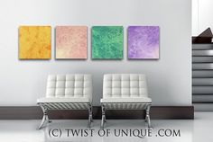 Corporate Abstract Painting 4 square panel  15 by TwistOfUnique, $240.00