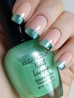 Green French Gradient - Leonie's Nailart