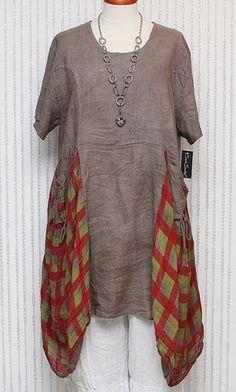 SARAH SANTOS 100% LINEN TUNIC DRESS MOCHA & CHECK PRINT LAGENLOOK SO QUIRKY OSFA   eBay