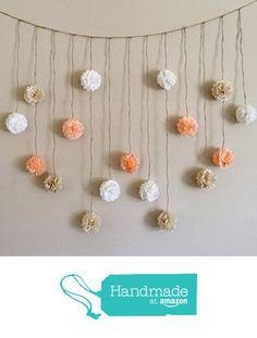 Pom Pom Garland, Peach and Creams Tissue Paper Flowers Wedding Garland DIY Kit, Party Decoration Kit, Baby Bunting Banner, Bridal shower from Giddy For Paisley http://www.amazon.com/dp/B017KULMZO/ref=hnd_sw_r_pi_dp_Szcjxb1QHW4ZF #handmadeatamazon