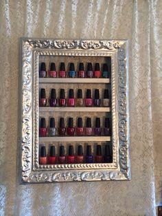 Nail Polish Shelf  antique frame  by RustyElegance on Etsy