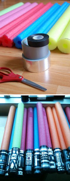 Another thing to do with your pool noodles? Turn them into light sabers with duct tape.