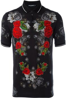 Dolce & Gabbana flower patch polo shirt Flower Patch, Patches, Short Sleeves, Men Casual, Mens Fashion, Pure Products, Stylish, Mens Tops, Cotton