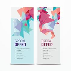 Vertical Promotional Banners with Abstract Triangle Shapes Vector Banner Vector, Banner Template, Ads Banner, Banner Ideas, Promotional Banners, Leaflet Design, Ui Design, Print Layout, Triangle Shape