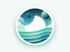Moon landscape badge  by Julien #Design Popular #Dribbble #shots