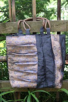 Fold Flat Natural Black Tote Bag Saraye Baskets of Cambodia Knitting Sewing Tote