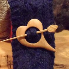 Shawl Pin Cherry wood Accessory for knit and by Tuscanartisan