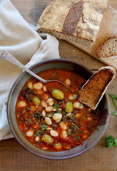 Lima Bean Stew recipe with Olives, Tomatoes, and Kale from PBS Food  ALL OF MY FAVORITE THINGS.