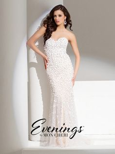 Evenings by Mon Cheri - TBE11531 This is the sister dress of another one of Tony Bowls fabulous dresses #tonybowls11532 so if you love the bubble beading without the poof of the tulle this dress is definitely for you #bubblebeading #champagne #formalwear #eveninggown #eveningdress #tonybowls11531 #tcarolyn