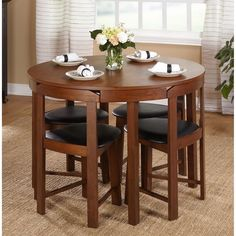 5 Piece Compact Round Dining Room Table Set Kitchen Curved Chairs Breakfast Nook #SimpleLiving