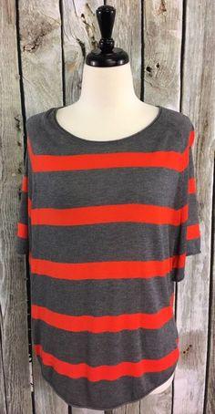 Ann Taylor LOFT S Sweater Top Gray/Orange Striped Oversized Rayon Blend Shirt #AnnTaylorLOFT #Crewneck #Casual