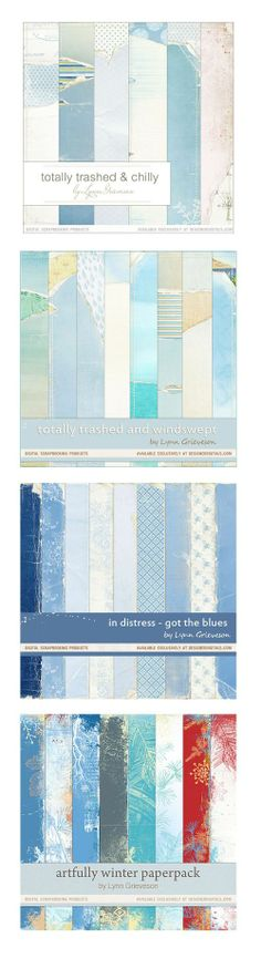 Blue digital scrapbooking background papers, Lynn Grieveson, Designer Digitals