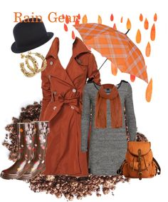 Designer Clothes, Shoes & Bags for Women Singing In The Rain, Rain Gear, Lady Diana, City Girl, Orange, Country Girls, Kate Middleton, Rain Boots, Style Me