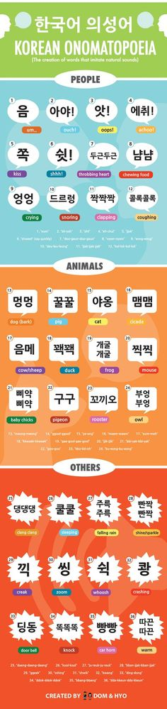 Learn Korean onomatopoeias with this fun infographic!     www.AsianSkincare.Rocks ⭐️⭐️ www.SkincareInKorea.info: