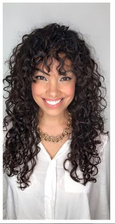 curly hair shape and bangs