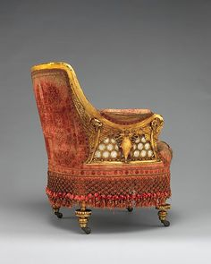 America's Gilded Age - A lady's bergere armchair. It was originally located in the NYC residence of; railroad tycoon, art collector, and American socialite: William H. Vanderbilt. ~ Created in c.1881 - c.1882, by New York City furniture makers, Herter Brothers, (Active:1864-1906). The chair was designed with; gilded wood, mother-of-pearl roundels, decorated with winged griffins, and a shield motif. Remarkably, the original silk velvet upholstery is intact. ~ {cwlyons} ~ (Image: The MET…