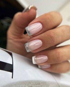 36 Cute Nail Design Ideas For Stylish Brides ❤ #weddingforward #wedding #bride #naildesign #bridalbeauty Silver Nail Designs, Heart Nail Designs, Square Nail Designs, Simple Nail Designs, Round Square Nails, Short Square Nails, Round Nails, Short Nails, Fancy Nails