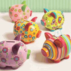 My sisters and I used to collect brightly colored ceramic piggy banks when we were little.  Such a fun memory.