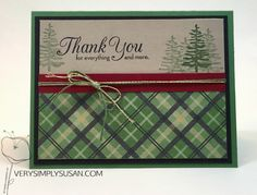 Christmas Themed Thank You Cards using Santa's List, Warmth & Cheer DSP and One Big Meaning from Stampin' Up!