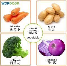 Wordoor Chinese - Vegetables I Chinese Fruit, Basic Chinese, Chinese Vegetables, Chinese English, Learn Chinese, Mandarin Lessons, Learn Mandarin, Chinese Phrases, Chinese Words