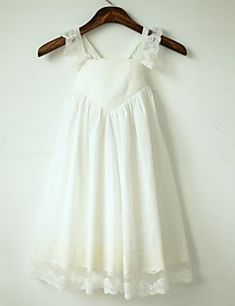 A-line Tea-length Flower Girl Dress - Cotton / Lace Sleeveless Straps with – USD $ 59.99