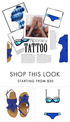 """""""beach day"""" by aleksak ❤ liked on Polyvore featuring beauty, Oliver Gal Artist Co., Polaroid, Post-It, Carven and Anja"""