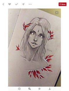 Red leaves 2 by sashajoe on deviantart figure illustrations + sketches and Art Drawings Sketches, Cool Drawings, Pencil Drawings, Pencil Tattoo, Creepy Drawings, Tattoo Sketches, Arte Sketchbook, Drawing Faces, Character Drawing