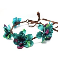 Turquoise Flower Crown, Floral Crown, Flower Headband, Hair Wreath -... ($19) ❤ liked on Polyvore featuring accessories, hair accessories, hair, hats, flower crowns, floral garland, head wrap headband, green hair accessories, floral crown and rose hair accessories