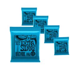 Ernie Ball Extra Slinky Custom Gauge Electric Guitar Strings 08-42  gauge  5-pack Made In USAErnie Ball Extra Slinky Electric Strings are widely revered for their world-class tone. These strings are precision manufactured to the highest standards and most exacting specifications to ensure consistency, optimum performance, and long life. Extra Slinky wound strings are made from nickel plated steel wire wrapped around a hex shaped steel core wire. The plain strings are made of specially…