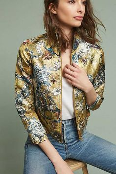 Enlivened with a floral brocade, this precision-cut blazer by Hemant & Nandita will slot seamlessly between the office and cocktail hour. Mode Batik, Gilet Long, Anthropologie Clothing, Mode Outfits, Girl Outfits, Karl Lagerfeld, What To Wear, Street Style, Style Inspiration