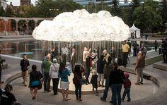 Unique Ceiling Cloud Built From 6,000 lightbulbs