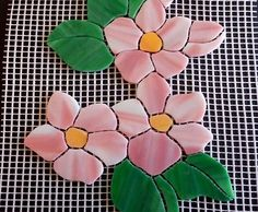"APPLE BLOSSOM Precut Stained Glass Art Mosaic Inlay Kit - 8.25"" x 6"""