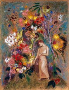 Woman in Flowers, Odilon Redon (French: 1840–1916), Post-impressionism, Symbolism