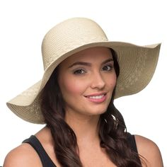 Ladies Fashionable Wide Brimmed Straw Sun Hat With Crosshatch Embroidery - Beige