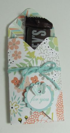 Treat holder with the Envelope Punch Board by Mena Green: 5-inch square paper, punch/score at 2 inches, rotate and punch/score at 3, repeat on remaining sides.