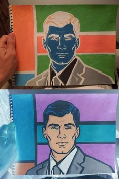 Negative of Archer painted by Kurt Brown for his High School Art Class