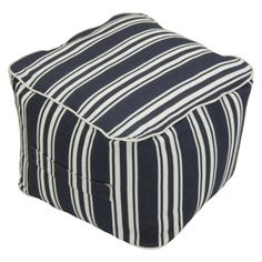 Threshold™ Outdoor Fabric Pouf in Navy Stripe available at Target.