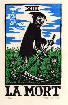 Death Tarot Linocut Art Print