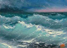 Pacific Ocean, ACEO - miniature original oil painting. $59.90